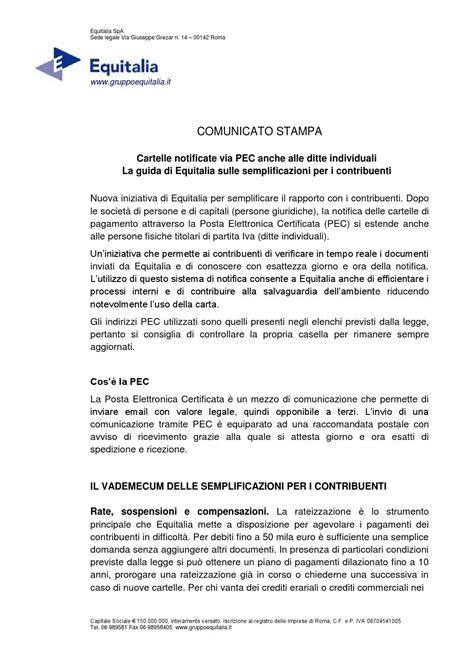 Equitalia Gerit Spa Sede Legale by Agenzia Delle Entrate Notifica Pec Ditta Individuale By