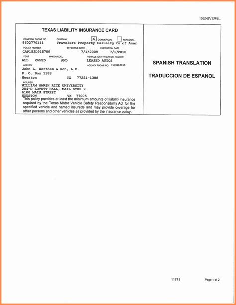 auto insurance card template    id card