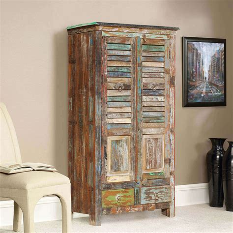 Wooden Armoire Cabinets by Appalachian Rustic Reclaimed Wood Shutter Door Armoire
