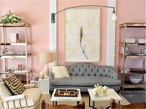 Modernes Wohnzimmer Mit Altrosa Wandfarbe FresHouse