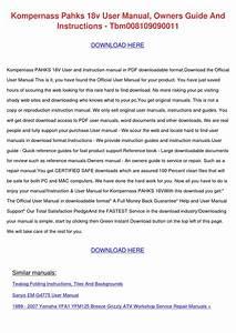 Kompernass Pahks 18v User Manual Owners Guide By