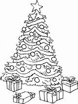 Coloring Tree Christmas Pages Printable sketch template