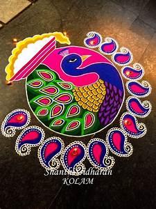 15 beautiful colorful peacock kolam rangoli designs