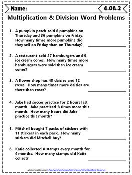 4th grade math worksheet division word problems 4th grade math word problem bundle 4th grade math review
