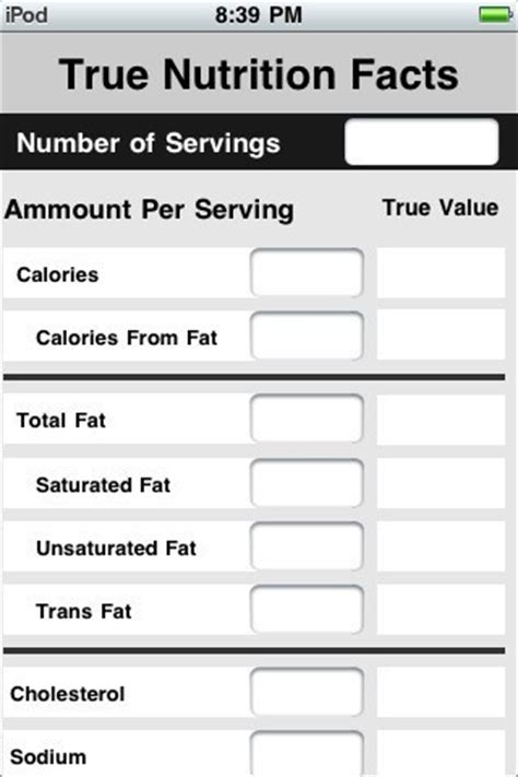 freeware  nutrition label template