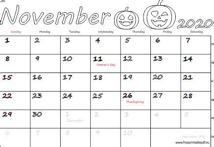 november  usa calendar  printable