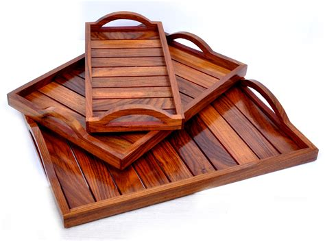 Wooden Tray For Diningserving Of Sheehsam Brown Wood (set