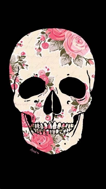Skull Sugar Floral Iphone Phone Wallpapers Rose