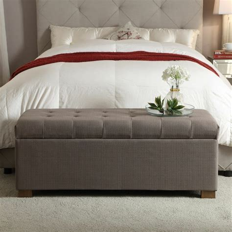 homepop large tufted storage bench accent bed room living