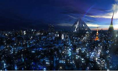 Tokyo Anime Night Cityscape Crown Guilty Desktop