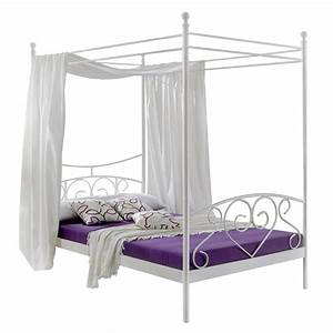 Lit a baldaquin alice springs blanc home24be for Chambre design avec sommier et matelas 120x200