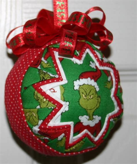 the grinch christmas fabric quilted ornament ball half off