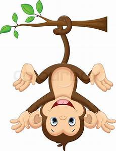 Illustration of cute baby monkey hanging on tree | Stock ...