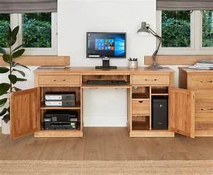 Mobel Solid Oak Large Hidden Office Twin Pedestal Desk