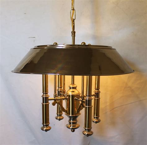 Lightolier Chandelier by Lightolier Brass And Nickel Four Light Chandelier For Sale