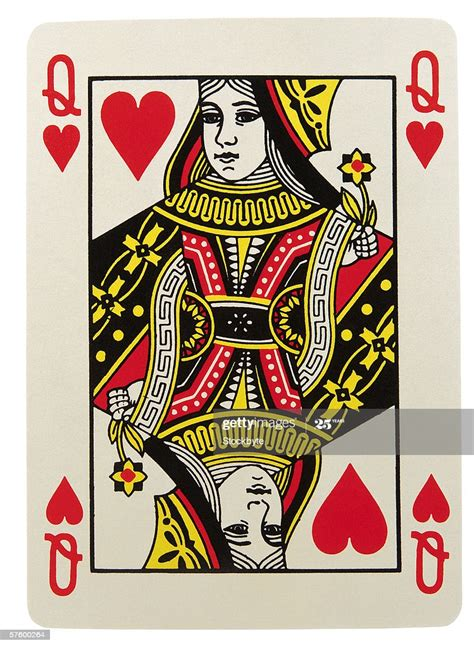 closeup   queen  hearts playing card high res stock