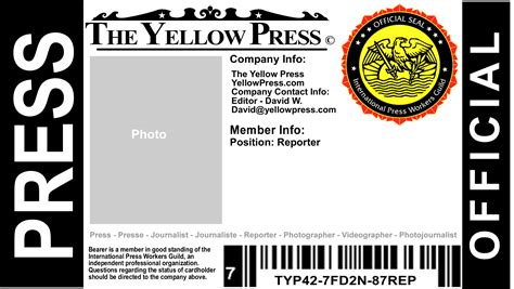 Media Pass Template by Free Press Pass The Yellow Press