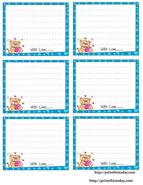 free note card template free printable notes stationery