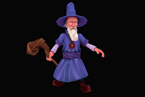 lowpoly hand painted wizard  model cgtrader
