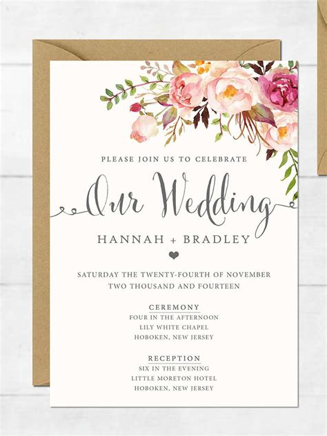 wedding invite template download wedding invitation printable wedding invitation