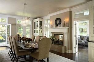 Marge Carson Sofa Table by Dining Room With Renovated Two Sided Fireplace Into Porch