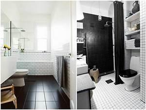 Carreau Metro Blanc : carrelage salle de bain noir et blanc duo intemporel ~ Melissatoandfro.com Idées de Décoration