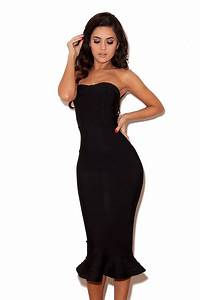 robe noire bodycon avec ourtlet a volant house of cb With robe noir bandage