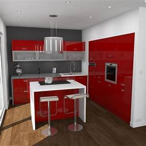 Cuisine avec ilot central 43 idees inspirations for Petite cuisine équipée avec meuble de salle a manger design