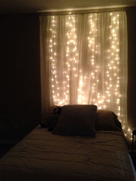 curtains with lights string lights sheer curtain headboard this