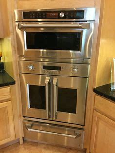stacked microwave  double oven kitchen pinterest