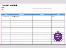 Training Schedule Template Excel Templates Excel