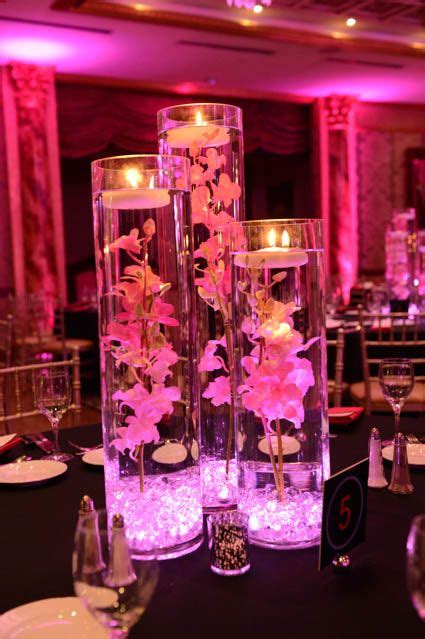 pink vases  crystals lights orchids pink orchids