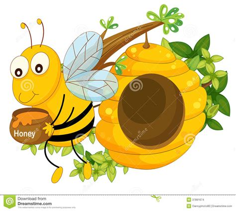 Bijenkorf Sticky L by A Bee Holding A Pot Of Honey Near The Beehive Stock Images