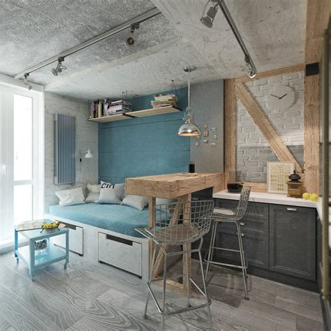 industrial small bedroom ideas 4 small beautiful apartments 50 square meters Industrial Small Bedroom Ideas