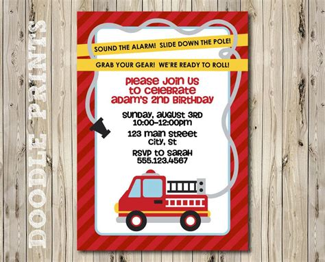 fire truck invitation fire fighter birthday party
