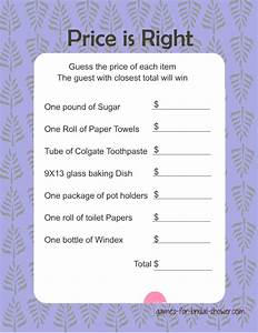 free printabel price is right bridal shower game With wedding shower game