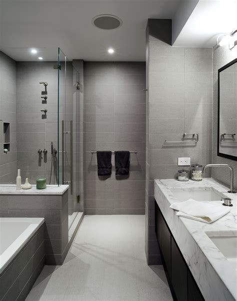 Grey Bathroom Tiles Bathroom Contemporary With Curbless