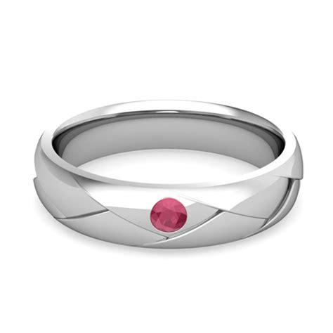 mens wedding ring in 14k gold shiny ruby wedding band