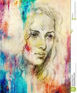 Peinture Visage Femme : jeune femme de portrait de dessin avec l 39 ornement sur le visage peinture de couleur sur le fond ~ Melissatoandfro.com Idées de Décoration