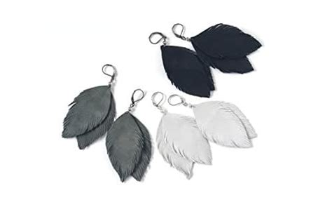 amazoncom suede leather feather earrings  black light