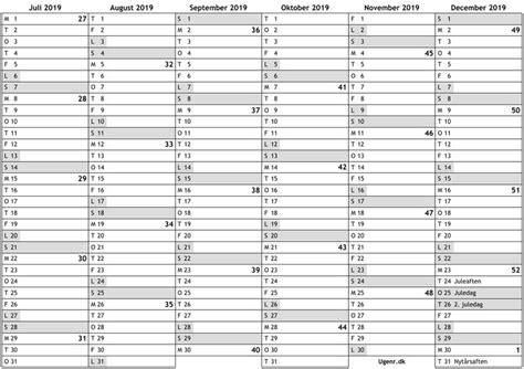 oversigtskalender   med ugenumre og danmarkgen