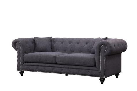 Ottoman Loveseat by Kristopher Chesterfield Modern Grey Linen Tufted Sofa