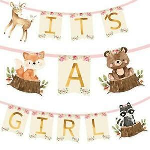 Woodland Animal Creatures ITS A GIRL Banner for Baby