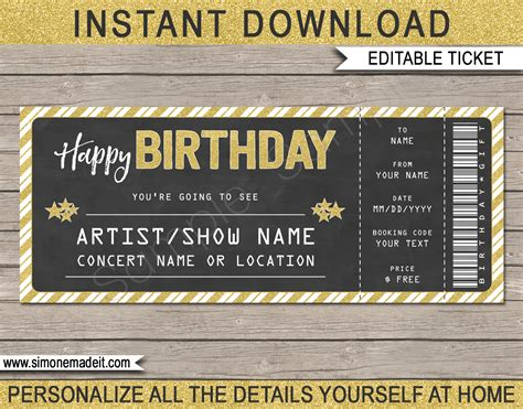 concert ticket gift template printable gift voucher birthday