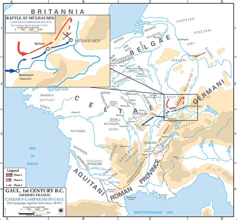Map Of Caesars Campaign In Gaul 58 Bc