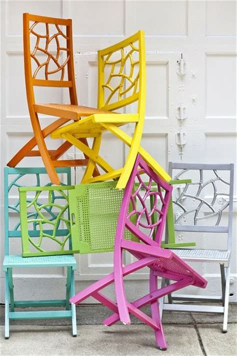 colorful folding chairs pops of color painted chairs homejelly