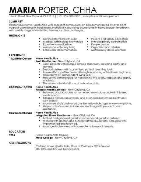 Home Health Resume by Best Home Health Aide Resume Exle Livecareer