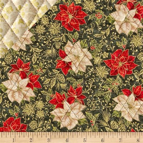 sided quilted fabric celebrate the season sided quilted poinsettia green