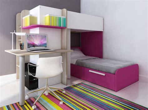 lit avec bureau intégré lits superposés samuel 2x90x190cm 3 coloris option matelas