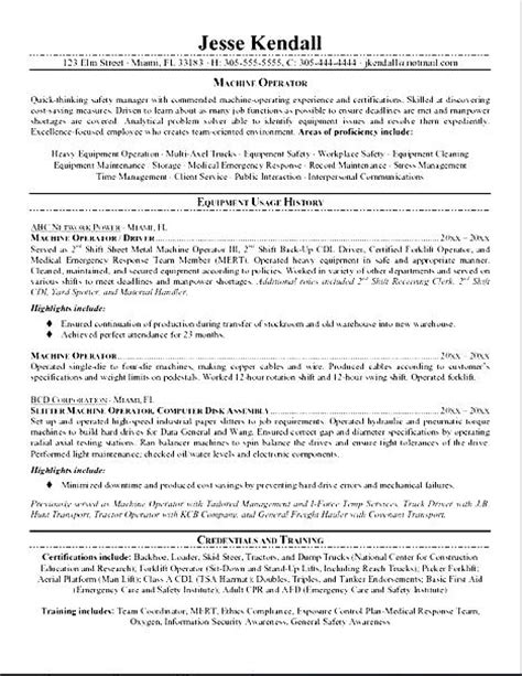 resume for machine operator free sles exles